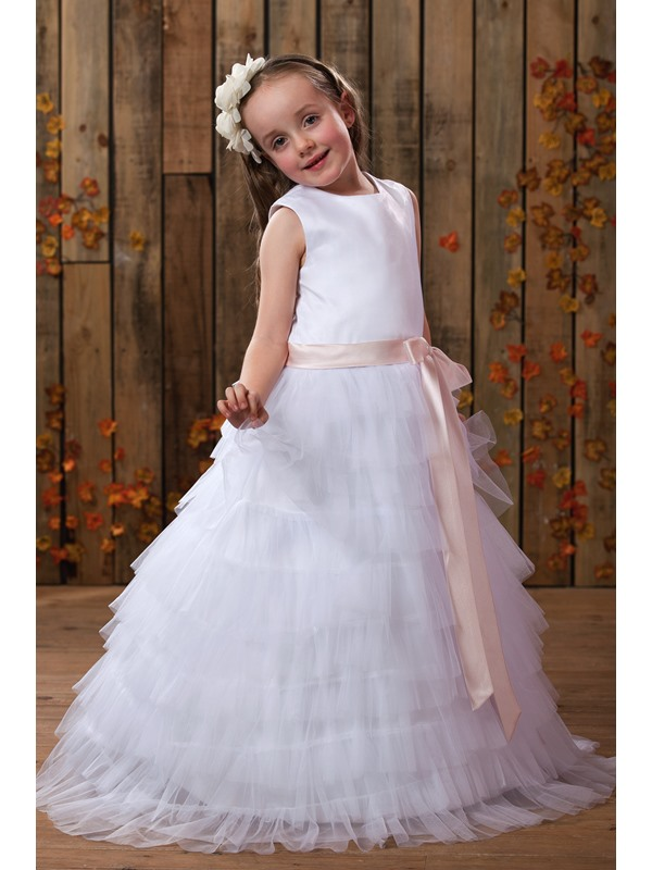 Beautiful A-line Jewel Tea-length Tiered Flower Girl Dress