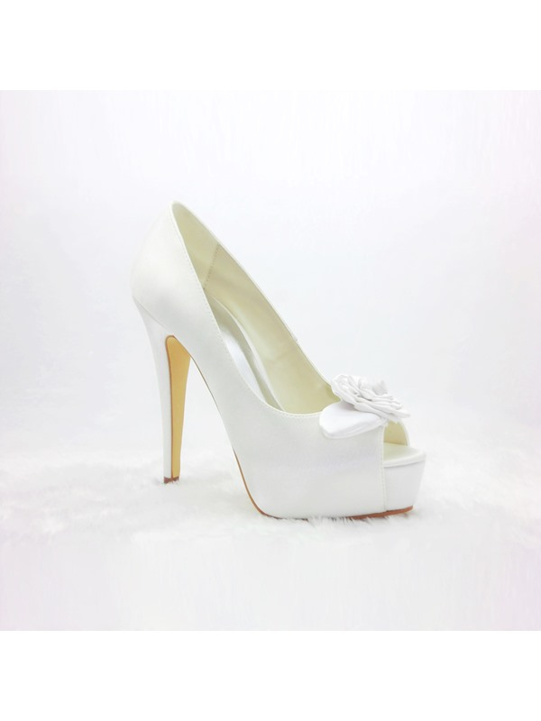 New Satin Peep Toe Stiletto Heels Wedding Shoes