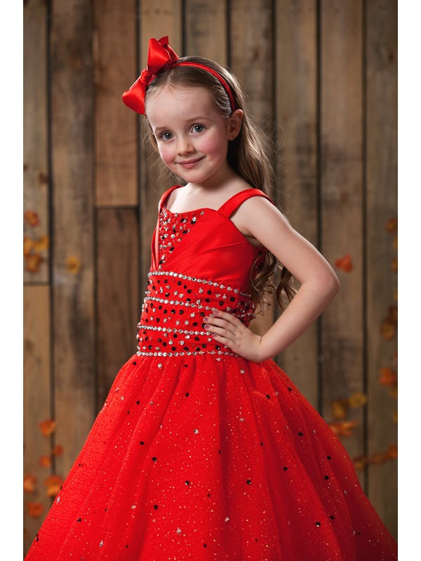 Ball Gown Floor-length Square Neckline Sequins Flower Girl Dress