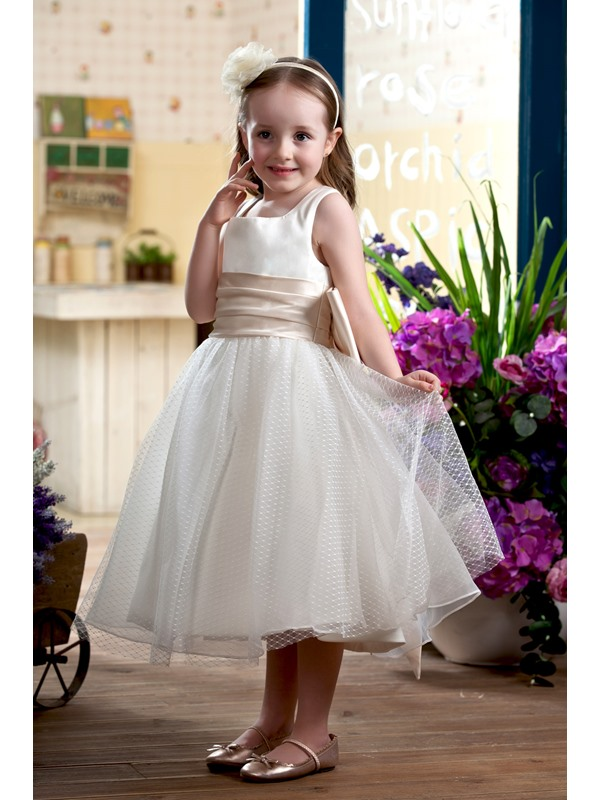 A-Line Tea-length Sash Flower Girl Dress