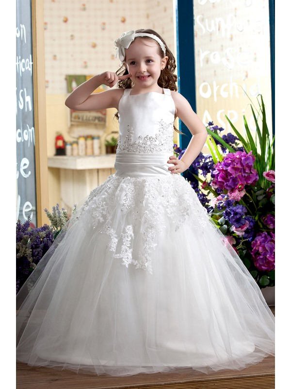 Elegant Ball Gown Straps Floor-length Flower Girl Dress