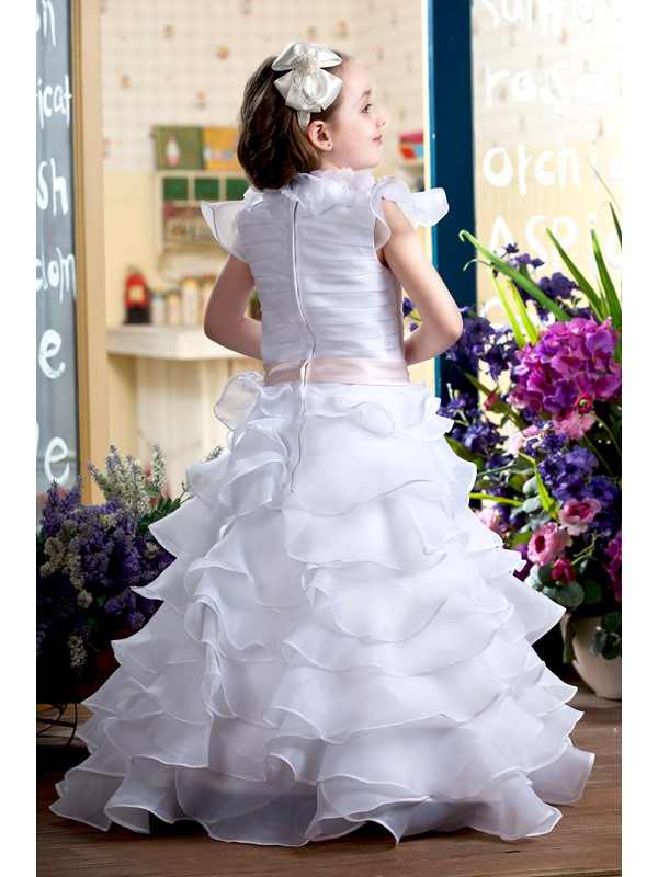 Cute A-line V-neck Ankle-Length Capped-Sleeve Tiered Flower Girl Dress