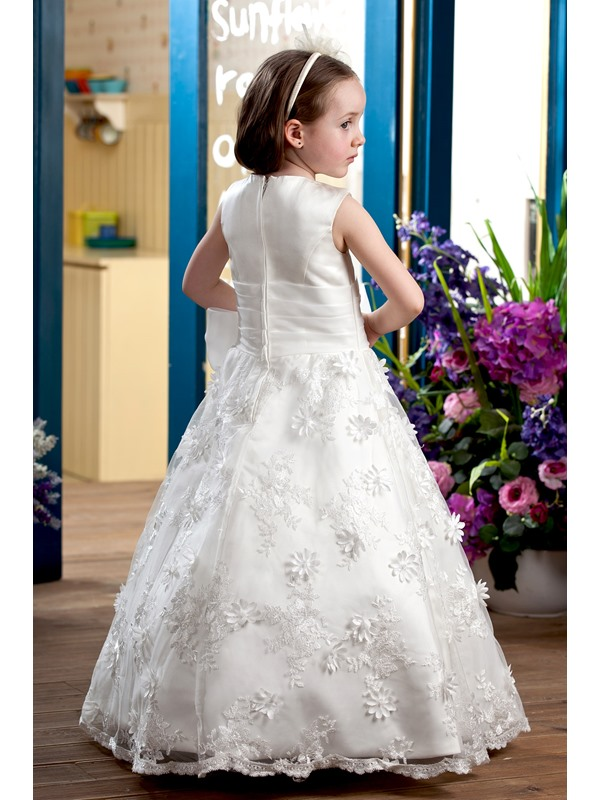 Amazing A-line Floor-length Sleeveless Appliques & Bowknot Flower Girl Dress