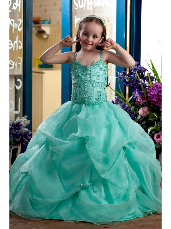 Pretty Ball Gown Floor-length Beaded Spaghetti Straps Flower Girl Dress