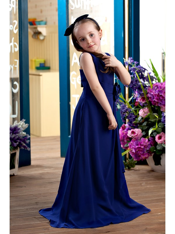 Simple Spaghetti Straps Long Flower Girls Party Dress