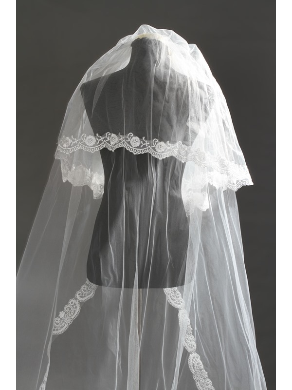 2 Layer Cathedral Length Tulle Wedding Veil with Lace Edge