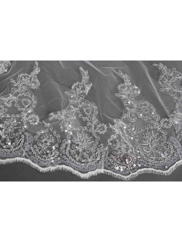 Elegant Tidebuy Cathedral Length Lace Wedding Veil with Sequin