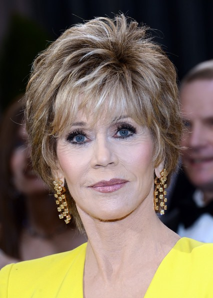 Oscar Star Jane Fonda Hairstyle Straight Human Hair Full Lace Wig about 7 Inches (Free Shipping)