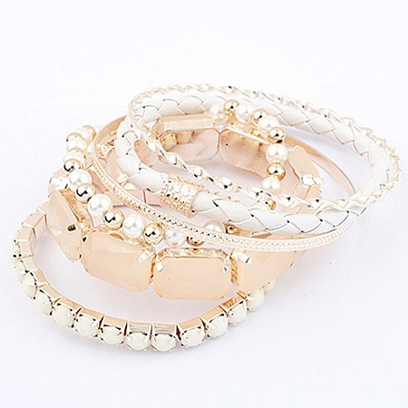 Brilliant White Fashion Lady's Alloy and Pearls Bracelets Set