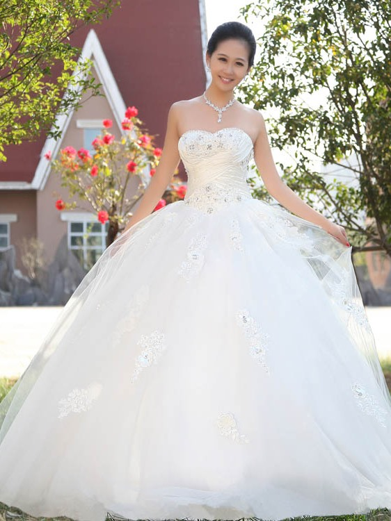 Ball Gown Sweetheart Beading Lace Wedding Dress