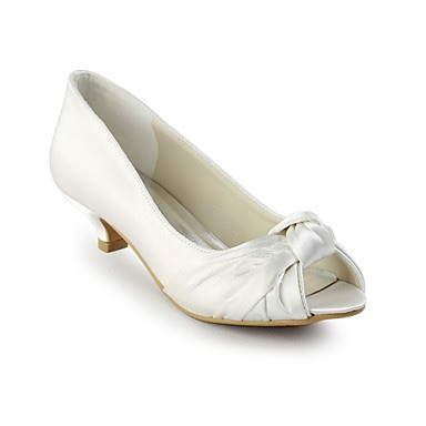 Satin Peep-toe Chunky Heels Wedding Shoes