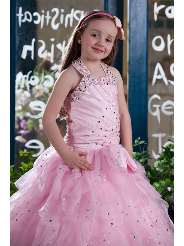 Straps Beading Bowknot Tiered Flower Girl Dress