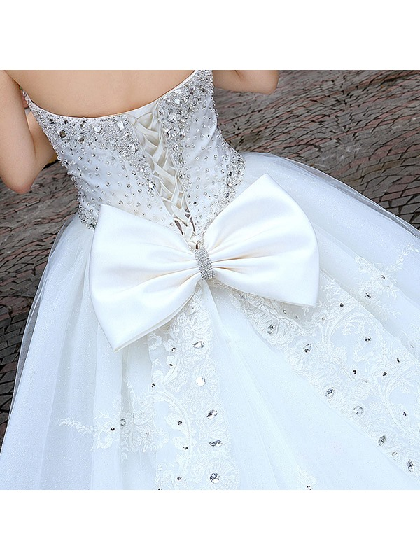 Luxurious Sweetheart Cathedral A-Line Train Lace Bowknot Wedding Dress (Free Shipping)