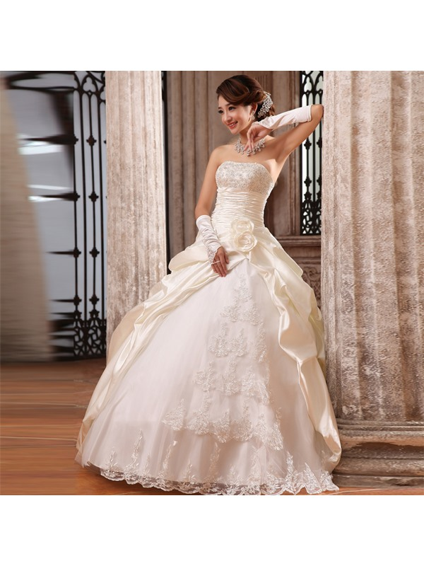 Graceful Ball Gown Flowers Lace Strapless Floor Length Wedding Dress