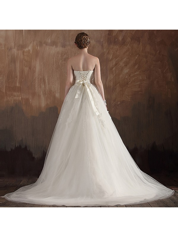 Elegant A-line Empire Ruched Strapless Applique Long Wedding Dress