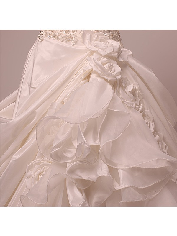 Excellent A-line Off-the-shoulder Ruffles Chapel Train Wedding Gown