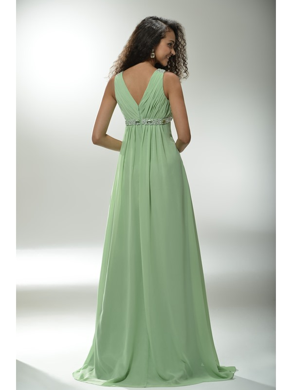 Graceful A-Line V-Neck Beading Empire Waistline Long Prom Dress