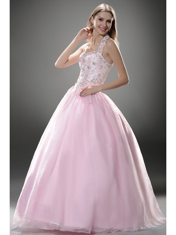 Luxurious Halter Appliques Lace-up Floor-length Ball Gown/Quinceanera Dress