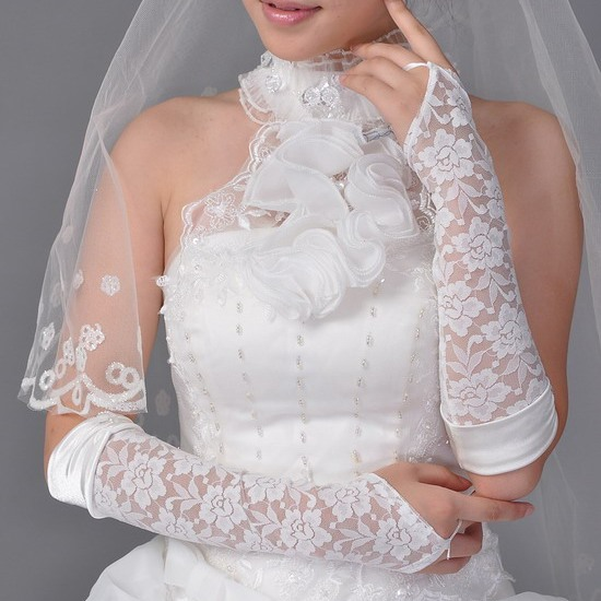 Superb Transparent Lace Fingerless Wedding Bridal Glove