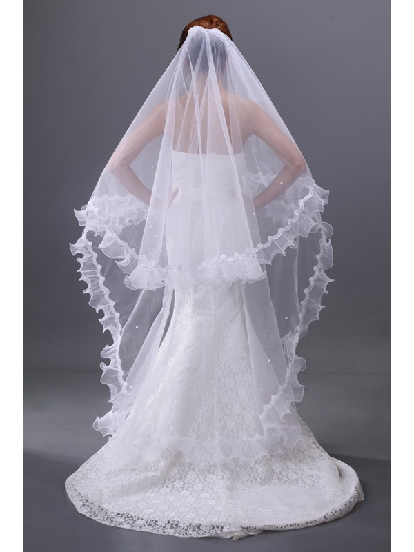 Enchanting Beads Single-wire Yarn Ankle-length Waltz Wedding Bridal Veil