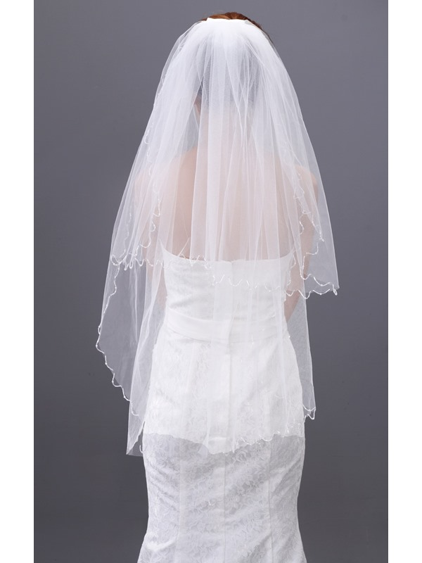 Elbow Wedding Veil with Beadings