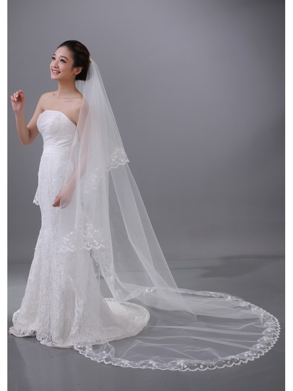 Brillant Tidebuy Chapel Bridal Veil with Lace Edge