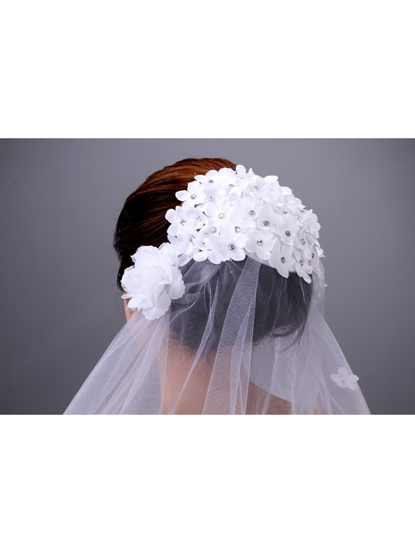 Elbow Bridal Veil with Flowers