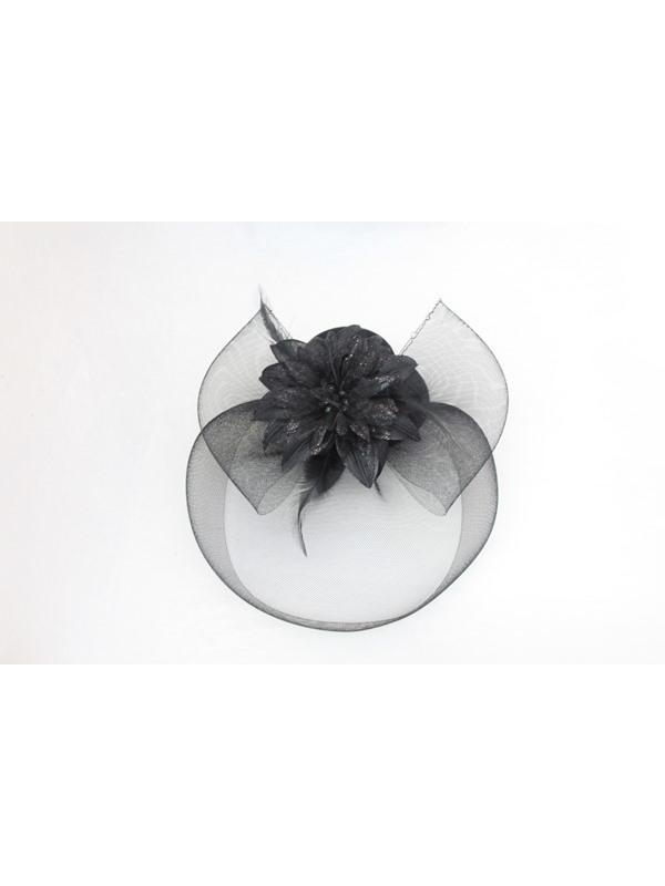 Delicate Black Gauze Hair Flowers