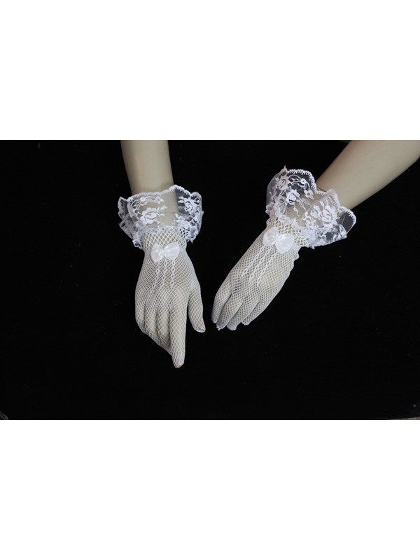 Chic Short Lace Wedding Gloves with Bowknot