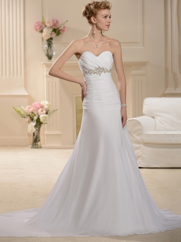 Empire Waist Strapless Appliques Pleats Mermaid Wedding Dress