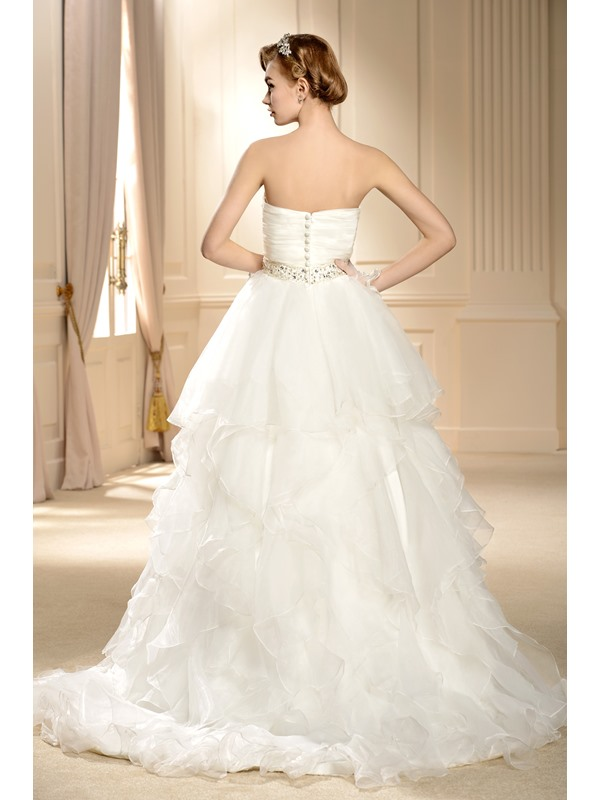 Gorgeous Ball Gown Sweetheart Tiered Beaded Wedding Dress