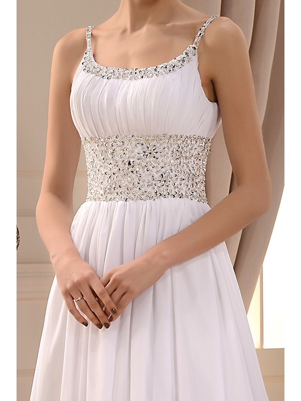 Gorgeous Beaded Spaghetti Straps Scoop Neck White Beach Wedding Dress(Free Shipping)