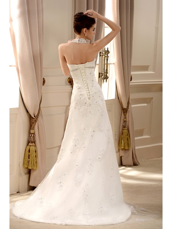 Fabulous Lace Halter Chapel Train Embroidering Wedding Dress