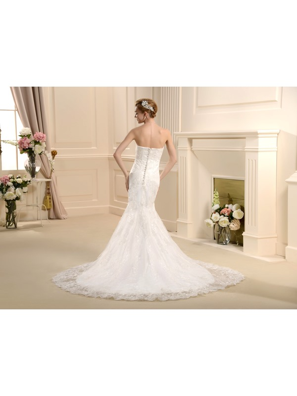 Spectacular Mermaid/Trumpet Strapless Brush Train Dress for brides 2013 style