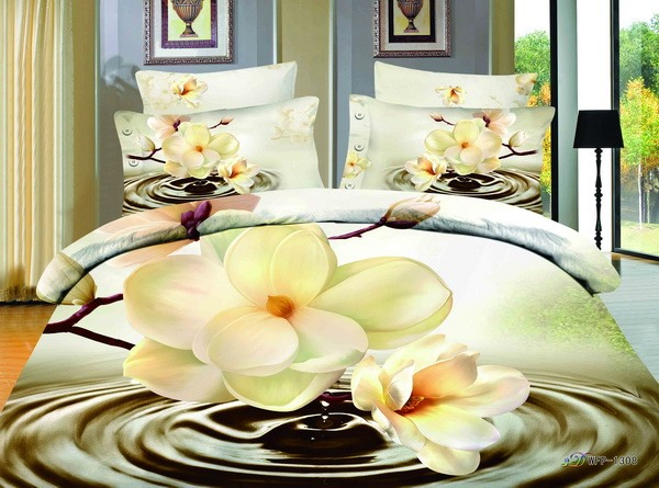 Brilliant Big Flowers Printed 4-Piece 100% Cotton 3D Bedding Sets(Free Shipping)