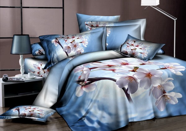 4 Piece Cotton Bedding Sets with White Floral Printing