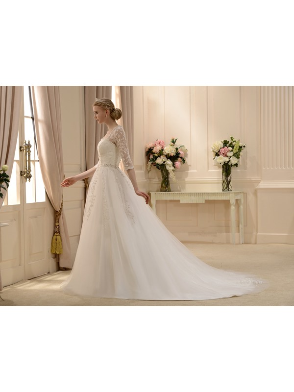 Elaborate A-line Square Floor-length 3/4-Length Sleeves Court Beaded Wedding Dress(Free Shipping)