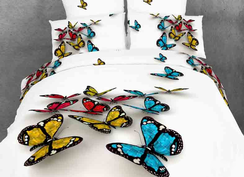 Colorful 3D Butterfly Print with White Color Duvet Cover 4-Piece Bedding Sets(Free Shipping)