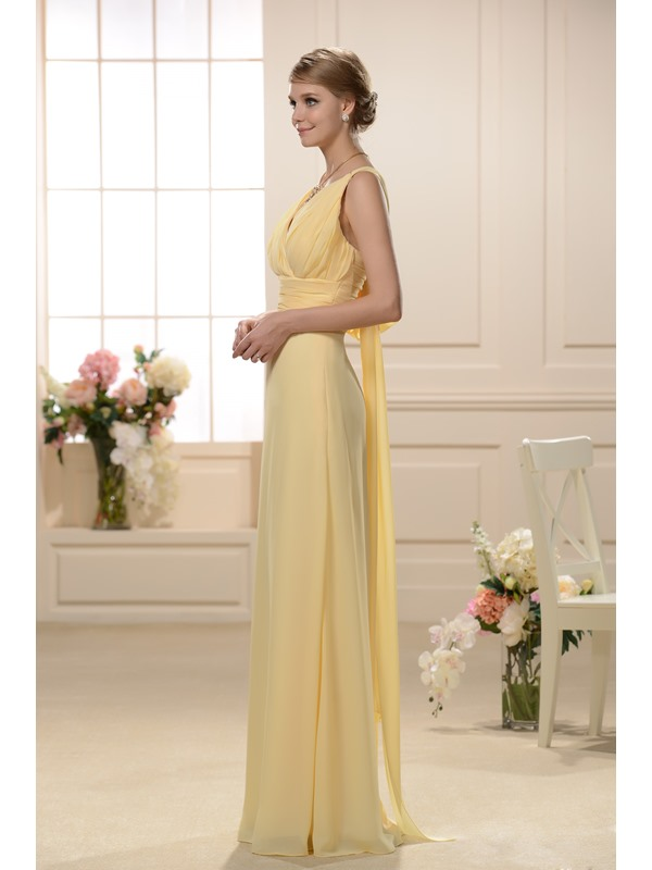 Sexy V-neck with Rouched Bodice and Floor Length A line Bridesmaid Dress