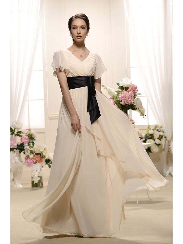 Unique Ruffles A-Line V-Neck Short-Sleeves Floor-length Bridesmaid Dress