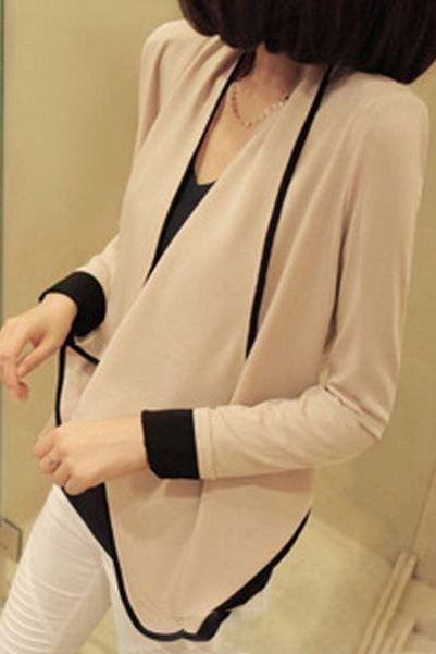 Stylish Loose Color Block Padded Shoulder Coat