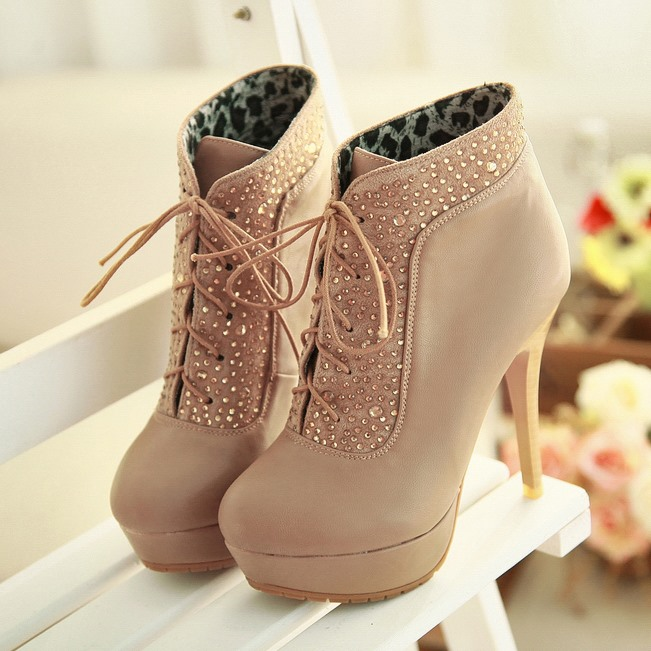 Rhinestones Stiletto Heel Lace-Up Boots(Free Shipping)
