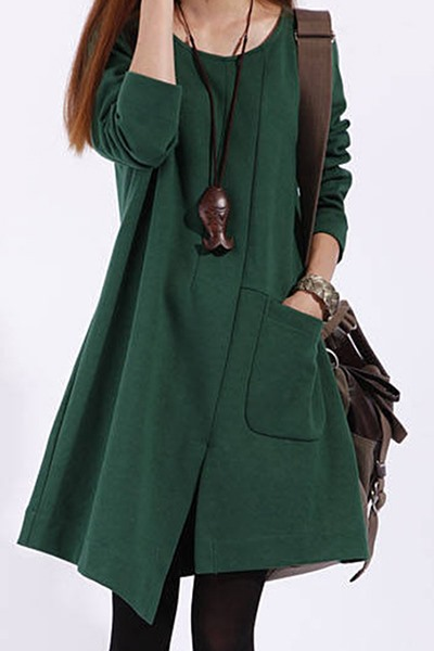 Asym Long Sleeve Pocket Women's Casual Dress