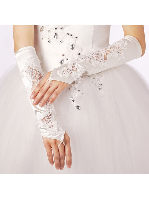 Elegant Beaded Long Fingerless Lace Appliques Wedding Gloves