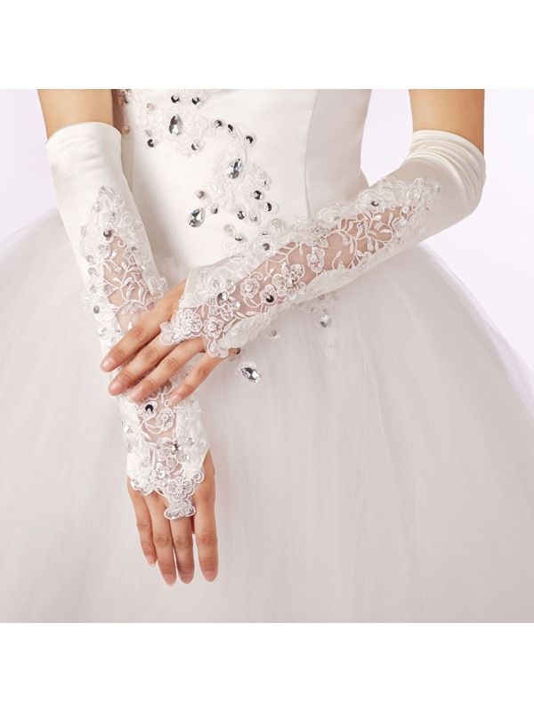 Charming Long Fingerless Beading Applique Wedding Gloves
