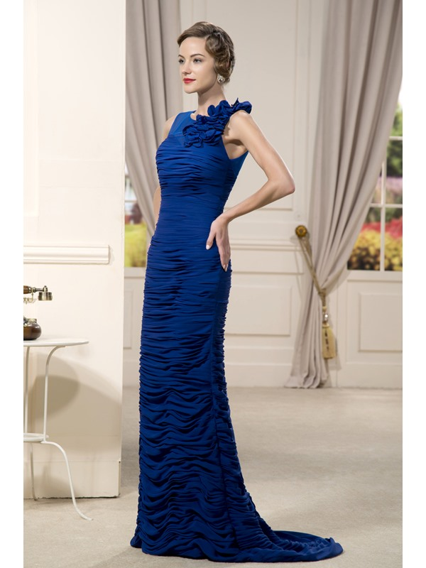 Delicated Pleats Flowers Sheath Round Neckline Floor-Length Mother of the Bride Dress