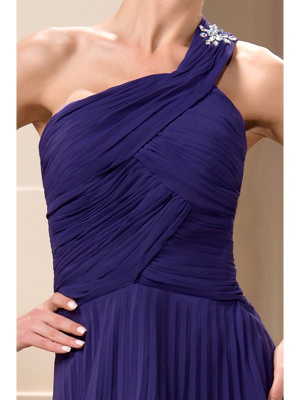 Tiered A-Line One-Shoulder Floor-Length Mother of the Bride Dress