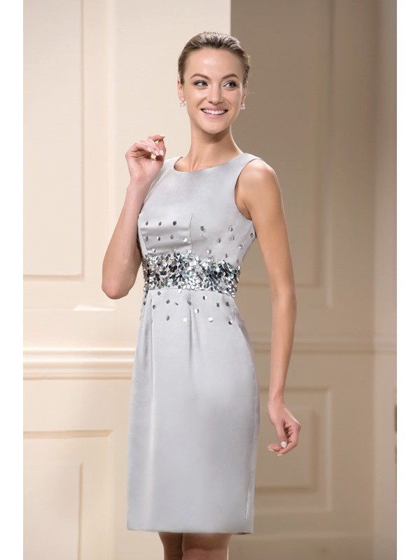 Elegant Jewel Neck Sequin Beaded Sheath Short Mother Of The Bride Dress