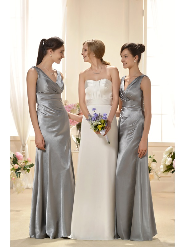 Luxurious A-Line V-Neck Floor-Length Bridesmaid Dress