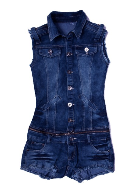 Nice Slim Low-waist Jeans Jacket Romper